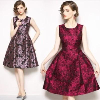 即納 パーティードレス 結婚式 二次会 ワンピース ノースリーブ お呼ばれドレス 20代 30代 40代 大きいサイズ 花柄