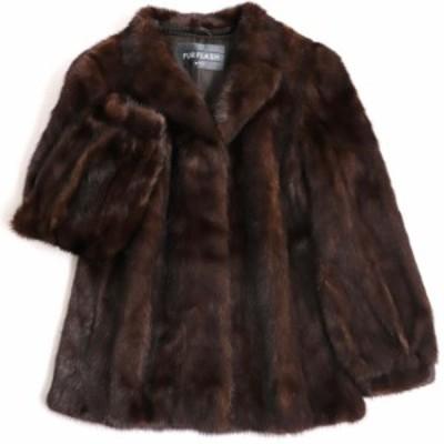 毛並み極美品▼MOONBAT MINK ムーンバット ミンク 本毛皮コート ブラウン 毛質艶やか・柔らか◎
