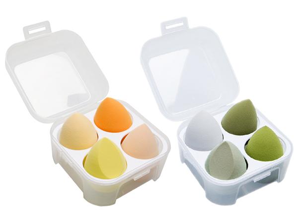 雞蛋盒水滴型美妝蛋(4入套組) 款式可選【D022189】粉撲 樣式隨機出貨