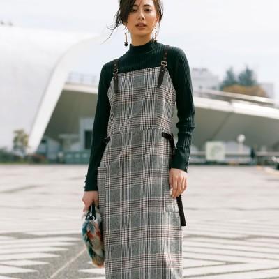 Ranan 【M~3L】チェック柄ジャンパースカート ソノタ M レディース
