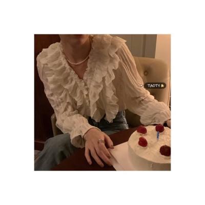 【送料無料】早春 キクラゲなようなエッジ 襟 ルース トップス 何でも似合う シャツ | 346770_A64623-3366811