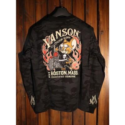 VANSON×Tom and Jerry トムとジェリーコラボ TJV-901 天竺ロンTee ブラックカモ