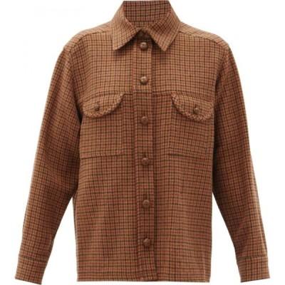 ブレイズ ミラノ Blaze Milano レディース ブラウス・シャツ オーバーシャツ トップス Rembrant houndstooth-check wool overshirt Brown