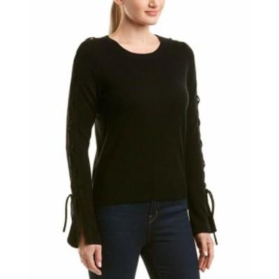 ファッション トップス White + Warren Wool & Cashmere-Blend Lace-Up Sleeve Sweater