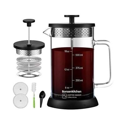 Bonsenkitchen コーヒー & ティー フレンチプレス 600ml 計量スプーン クリーニングブラシつき 手動式 (Black)