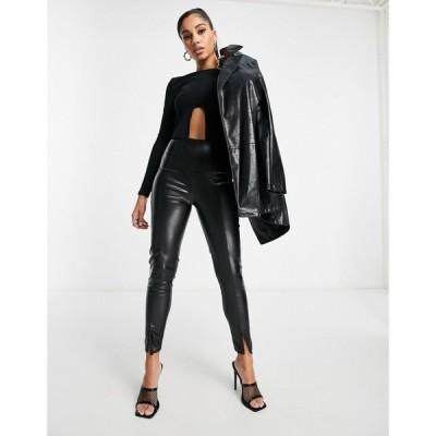 アイソウイットファースト I Saw It First レディース ボトムス・パンツ pu split front trouser in black ブラック