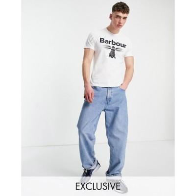 バーブァー メンズ シャツ トップス Barbour Beacon large logo T-shirt in white - Exclusive to ASOS