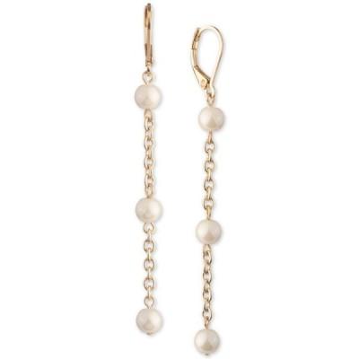 ラルフローレン レディース ピアス・イヤリング アクセサリー Gold-Tone Chain & Imitation Pearl Linear Drop Earrings