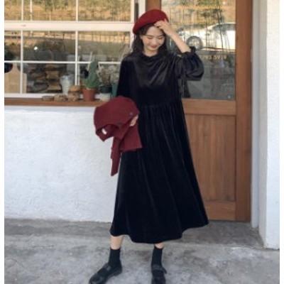 韓国 ファッション レディース ワンピース ロング ベルベット 光沢 長袖 無地 ゆったり カジュアル シンプル 大人可愛い 秋冬