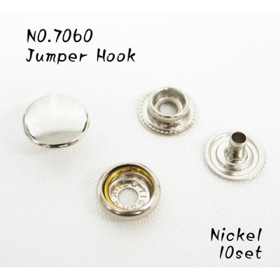 NO.7060 ジャンパーホック ニッケル 並足 長足 10個セット kume824
