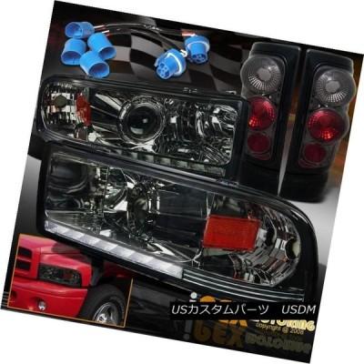 ヘッドライト 1997-2001 Dodge Ram「1500 SPORT」LED DRLプロジェクタースモークヘッドライト+テールライト 1997-