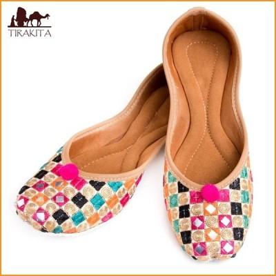 フラットシューズ パンプス 靴 ペッタンコ靴 ゴージャス刺繍のマハラニフラットシューズ インド サリー