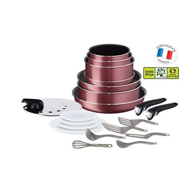 Tefal Ingenio Essential Set of 20 Pieces for All Heat Sources Except Induction Red[並行輸入品]