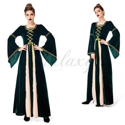 女王 クイーン 中世期 ヨーロッパ風 古代 貴族宮廷風 ロングドレス グリーン M-XXL 親子衣装 ハロウィン コスプレ衣装(ps3734)
