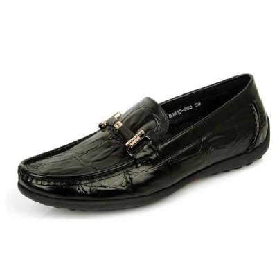 メンズ靴 レザー ビジネスシューズ エナメル エンボス ビットローファー コインローファー 本革 スリッポン 革靴 紳士靴 デッキシューズ (ブラック)D3855-803