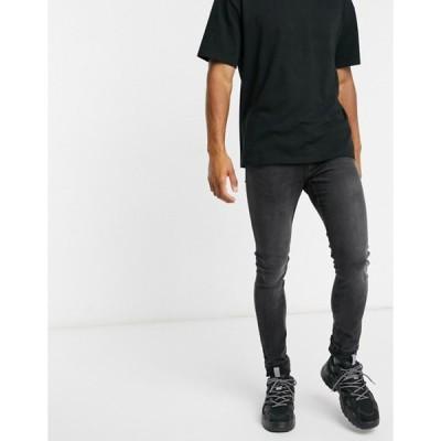 プルアンドベアー メンズ デニムパンツ ボトムス Pull&Bear super skinny jeans in washed black