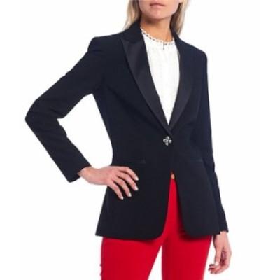 カルバンクライン レディース ジャケット・ブルゾン アウター Lux Stretch Suiting Satin Peak Lapel Embellished One-Button Tuxedo Jac