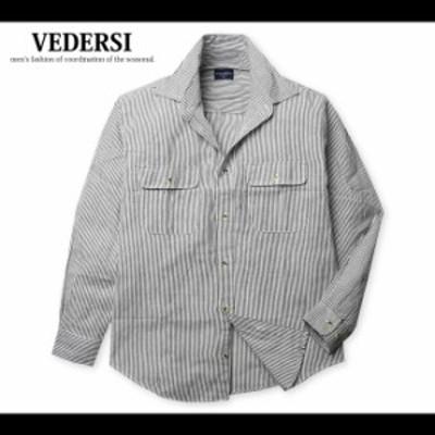 共通値:メンズ シャツ 長袖 綿100% ヒッコリー柄 ストライプ 胸ポケット 紳士