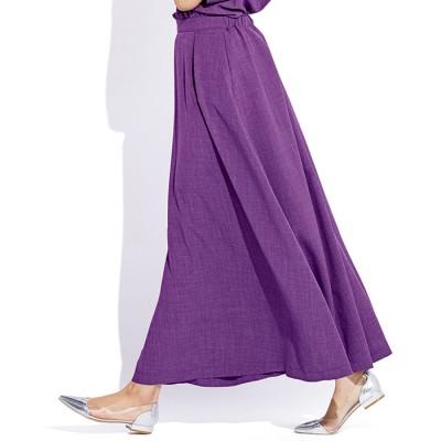 ベルーナ 麻調合繊さらさらスカート パープル 3L レディース
