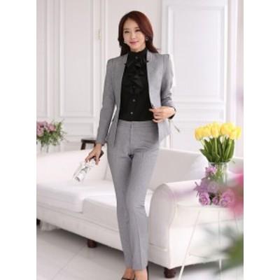 美品2点セット/オフィスパンツ+スーツ/レディース長袖スーツ/就活 ビジネススーツ制服/大きいサイズあり OL通勤/卒業式スーツS~4XL