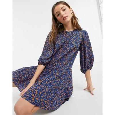 ニュールック レディース ワンピース トップス New Look double tier smock mini dress in blue floral Blue pattern