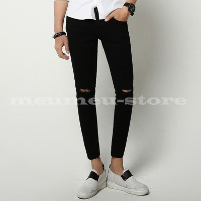 スキニーパンツ メンズ ボトムス 9分丈 ダメージパンツ 破れ 穴 黒 メンズパンツ ロングパンツ スリム 細身 細い キレイ 長ズボン