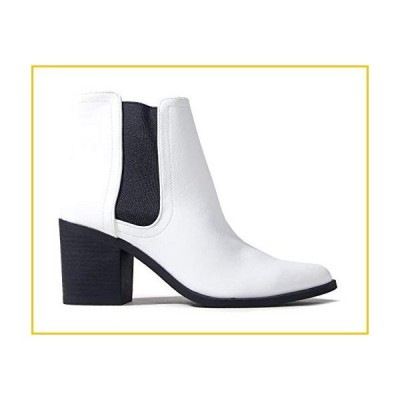 J. Adams Andi Booties for Women - White & Black Faux Leather Chelsea Boots - 7