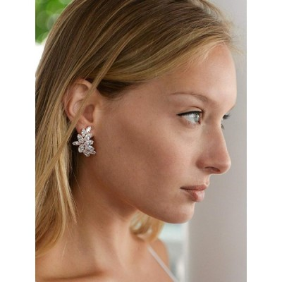 Mariell Blush Rose Gold CZ Earrings with Marquis-Cut Clusters - Bridal