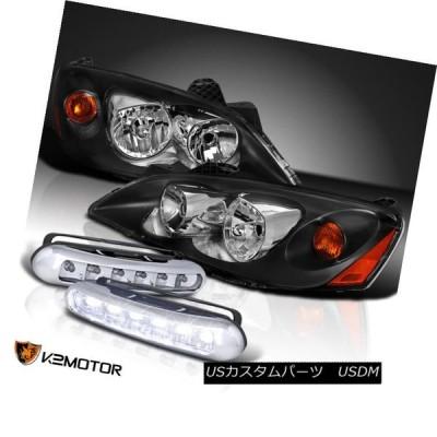 ヘッドライト 2005年?2010年ポンティアックG6ブラックヘッドライト+ 6-LEDフォグバンパー昼間運転灯 2005-2010 Pontiac