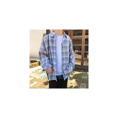 長袖シャツ メンズ 長袖 オシャレカジュアル メンズシャツ 新作 シャツ 秋物 カジュアルシャツ 折り襟 ゆったり チェック柄 通学