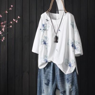 シャツ レディース ブラウス 綿麻 花柄 刺繍 プルオーバー チュニック 体型カバー クルーネック 春夏 Good Clothes