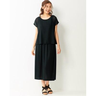 大きいサイズ 吸汗速乾UVカット半袖異素材使いカットソーワンピース ,スマイルランド, ワンピース, plus size dress