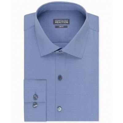 Kenneth Cole ケネスコール ファッション ドレス Kenneth Cole NEW Blue Mens Size 16 1/2 Slim Fit Solid Dot Dress Shirt