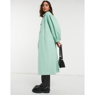 トップショップ レディース コート アウター Topshop puff sleeve coat in aqua Green