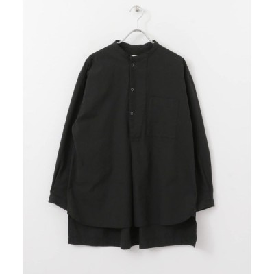 シャツ ブラウス バンドカラーコットンツイルコックシャツ