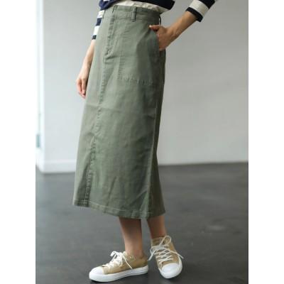 綿ツイルフロントポケットタイトスカート