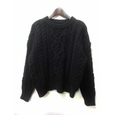 【中古】エモダ EMODA ニット セーター F 黒 ブラック アクリル 長袖  レディース
