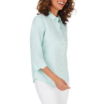 フォックスクラフト シャツ トップス レディース Lily Scallop Detail Non-Iron Shirt Creme De Mint