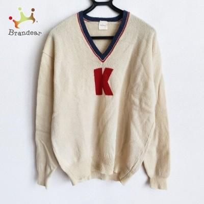 カールヘルム KarlHelmut 長袖セーター メンズ - ライトイエロー×レッド×ネイビー Vネック 新着 20210329