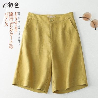 初色  棉麻休閒短褲-共4色-(M-2XL可選)