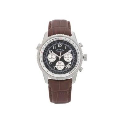 Black Dial Rotary Men's Chronograph Leather Strap Watch 並行輸入品