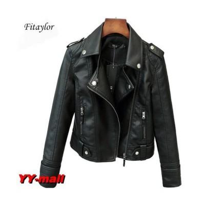 Fitaylor レディース PUレザージャケット ライダースジャケット バイクジャケット ジャンパー 革ジャン サイズ XL