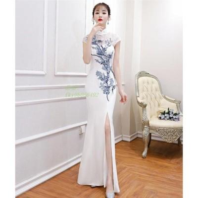 上品 結婚式 着痩せ ホワイト 披露宴 エレガント キレイめ 刺繍 成人式 ロング ドレス パーティードレス 20代30代 二次会 ワンピース タイトワンピース 上品