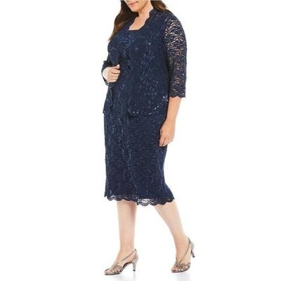 アレックスイブニングス レディース ワンピース トップス Plus Sequined Lace Tea-Length Jacket Dress