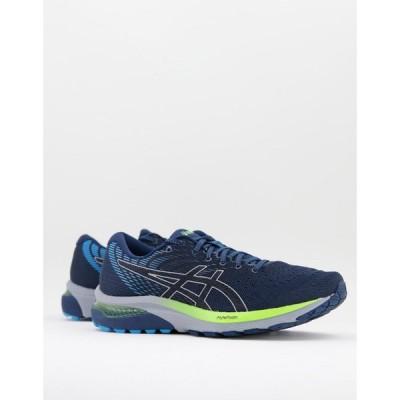 アシックス Asics メンズ ランニング・ウォーキング シューズ・靴 Running Gel Cumulus 22 trainers in black and blue ブラック