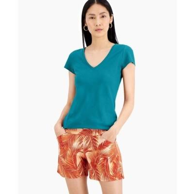 アイエヌシーインターナショナルコンセプト カットソー トップス レディース INC Cotton V-Neck T-Shirt, Created for Macy's Aztec Teal
