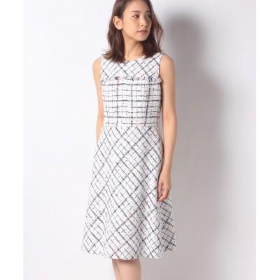 【ミス ジェイ】 クラレンソンツイード ドレス レディース ホワイト 40 MISS J