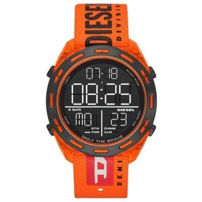 DIESEL ディーゼル CRUSHER COLLECTION ブラック ナイロン オレンジ DZ1896 デジタル メンズ 腕時計 dz1896