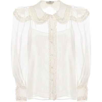 フェンディ Fendi レディース ブラウス・シャツ トップス sheer silk blouse White