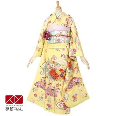 2〜11月利用 結婚式 振袖 レンタル 黄 平安浪漫 花扇(絹) 一点物 対応身長155〜159cm R491